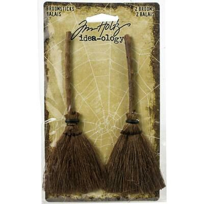 Tim Holtz Idea-ology 'BROOMSTICKS 2pcs Embellishments Brooms Halloween