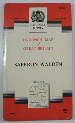 1963 Vintage OS Ordnance Survey Seventh Series One-Inch Map 148 Saffron Walden