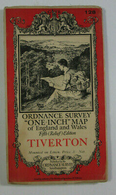 1933 Old OS Ordnance Survey One-Inch Fifth Relief Edition Map 128 Tiverton