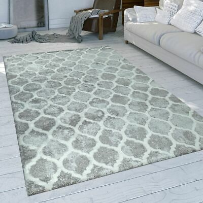 TAPIS POILS RAS Intemporel Abstrait Motif Design Salon Gris ...