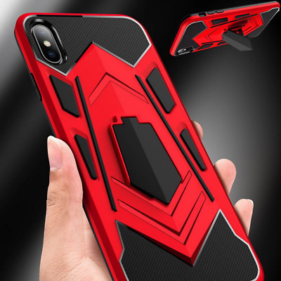 Hybrid Armor Rugged Holder Soft Edge Case Cover For iPhone XS Max XR 7 8 Plus 6s