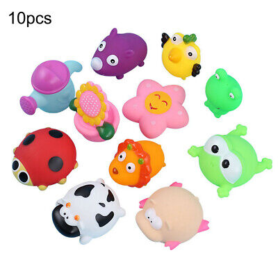 10PCS Silicone Animals Squeaking Toys Baby kids Bath Floating Water Toy + Net