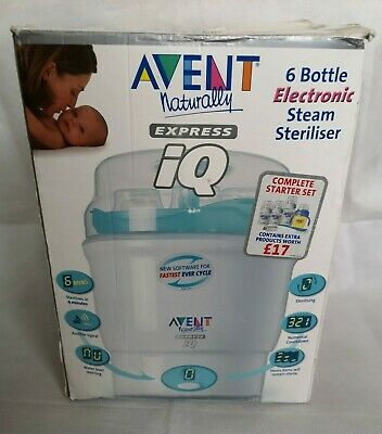 Avent Naturally Express IQ 6 Baby Bottle Electronic Steam Steriliser Boxed