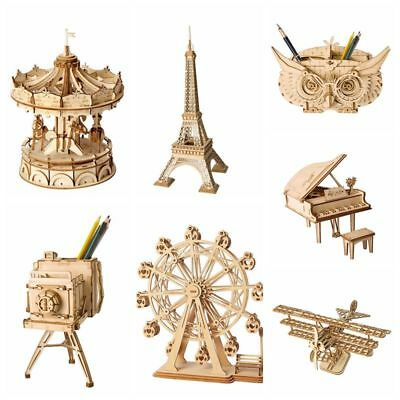 AU 3D Puzzles DIY Wooden Modern Building Kits Assembly Toy Home Decor for Kids