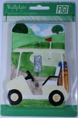 Vintage 3D Figi Wall Plate Cover Golf Cart Single Toggle Switch Ceramic