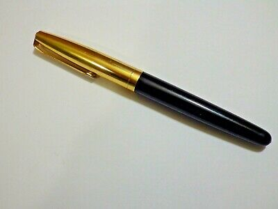Vintage Pen Black Barrel Gold Plated lid - Empty