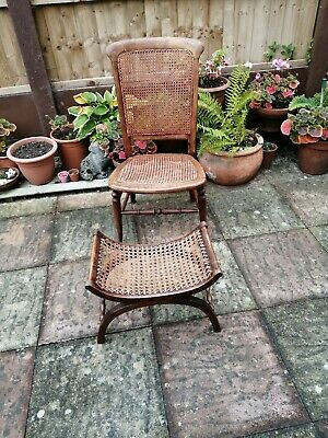 Victorian Bergere Caned Chair with Bergere Caned Stool.