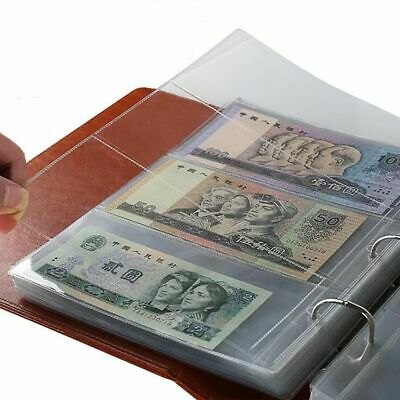 10Pcs Money Banknote Paper Money Album Page Collecting Holder Sleeves 3 Slots