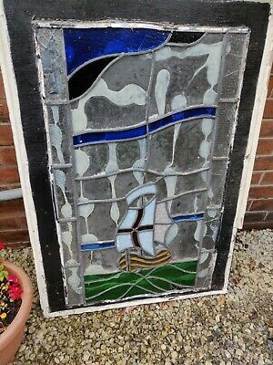 Antique Leaded Stained Glass Panel