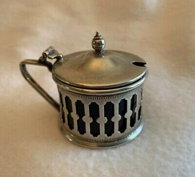 Vintage EPNS Condiment/ Mustard Pot With Hinged Lid and Cobalt Blue Glass liner