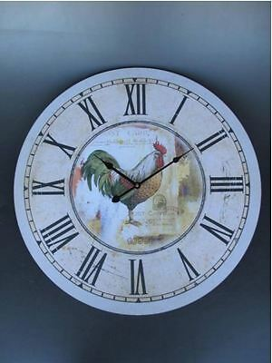 Wall Clock Clock Rooster Gallier Battery round Gift in Vintage Aesthetics Rarity