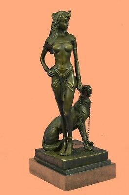 Handcrafted European Bronze Egyptian Art Deco Enchantment Sculpture Marble Gift