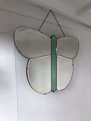 Green Art Deco bevelled Fly Mirror 71.5cm X 51cm  Patina Aged Butterfly Glass