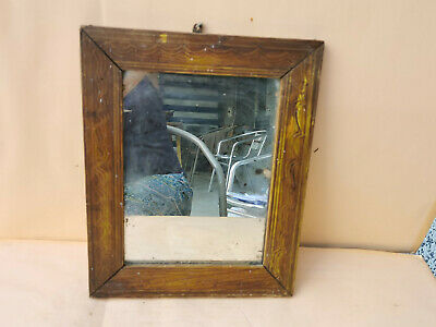 Old Antique Primitive Hand Carved Wooden Wall Hanging Mirror With Wooden Frame