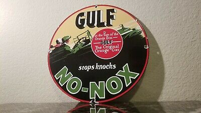Vintage Gulf Gasoline Porcelain No Nox Old Gas Service Station Pump Sign