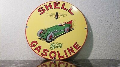 Vintage Shell Gasoline Porcelain Auto Gas Oil Service Station Pump Plate Sign