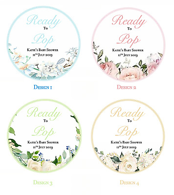 24 BABY SHOWER STICKERS PERSONALISED LABELS Party bag popcorn Ready to pop 40mm