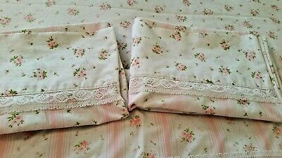 Vtg Springmaid Wondercale Full Set Pink Roses Lace Trimmed Sheets/Pillowcases