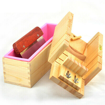DIY Handmade Soap Tools Silicone Mold Soap Making Tool Kit w/ Wooden Loaf J9L4