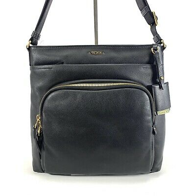 Tumi Voyageur Leather Capri Crossbody Shoulder Bag Black w Gold Hardware 17007D