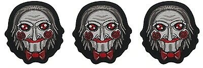 Saw Jigsaw Horror Mask Embroidered 3 Inches Tall Iron on Patch Set of 3