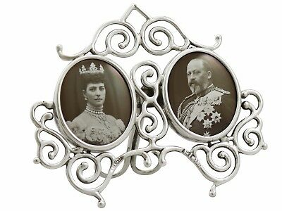 Antique Edwardian Hallmarked Sterling Silver Double Commemorative Frame 1900s