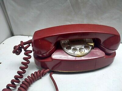 Western Electric Red Rotary Dial Desk Top Princess Telephone Bell System Phone