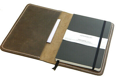 Leather Journal Cover for Moleskine Paper Clip Vintage Handmade Classic 5 x 8.25
