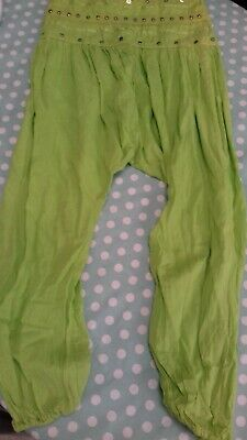Hareem Pants, Lime Green, 14-16 yrs, Never worn, 100% cotton, Embellished waist