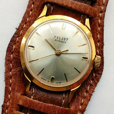Poljot 23 jewels Little Mechanical analog USSR watch Gold Plated 1975