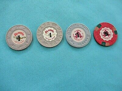 (4) Old Aladdin Casino chips Las Vegas $1 $5