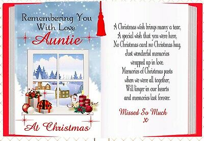 Christmas Memorial Auntie Bereavement Rememberance Graveside Card & Holder 1