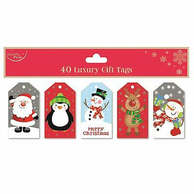 Christmas Gift Tags Assorted Pack 40 Present Wrapping Label Party Children Party