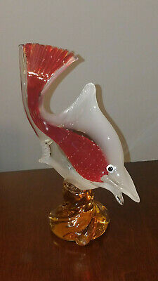 "Vintage Beautiful 11"" Sommerso Murano Style Glass Fish Statue Figure 50's 60's"