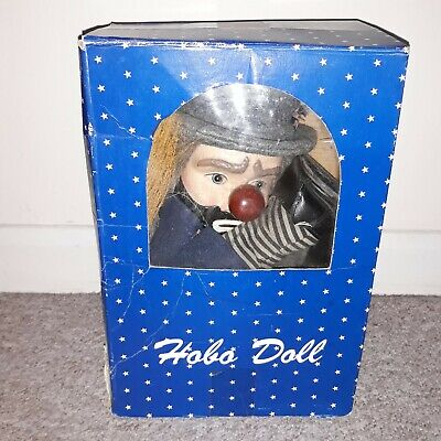 Very Rare Vintage Hobo Trump Clown Doll with Broom Porcelain Head Boxed 21""