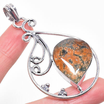 Excellent Red Moss Agate Gemstone 925 Sterling Silver Jewelry Pendant