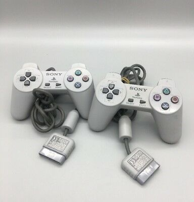 Lot 2 Sony Playstation 1 PS1 Official OEM Gray Wired Controllers SCPH 1080 E16
