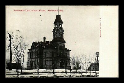 Dr Jim Stamps Us Jefferson Wisconsin Court House Glittered Postcard