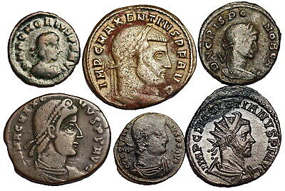 6 unidentified late Roman bronze coins...different rulers