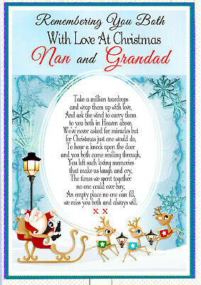 Christmas Nan And Grandad Graveside Rememberance Memorial Card & Holder