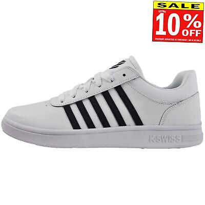 K Swiss Court Cheswick Mens Leather Classic Casual Retro Fashion Trainers White