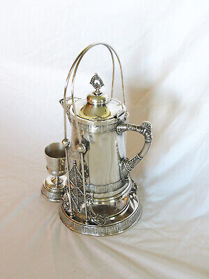 Pairpoint Silver Highly Decorated Tilting Pitcher on Stand w/Original Glass Line