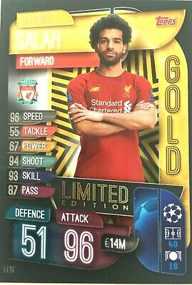 Match Attax  2019/20 Uefa Champions League Mo Salah Gold Limited Edition Mint