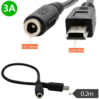 0.2m DC Power Jack Female 3.5x1.35mm to USB Mini 5Pin Male 3A 22AWG copper Cable