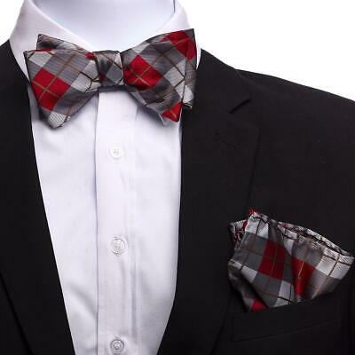 New Men Plaids Pattern Pre-tied Bowtie And Hanky Set Wedding Party Prom BT3043