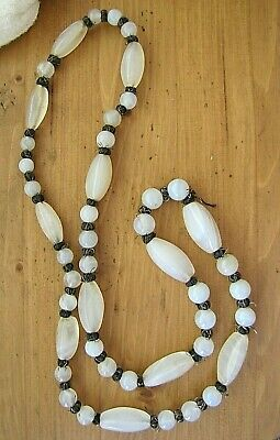 """Atq Chinese Export Elongated White Chalcedony Agate Beads Necklace 32"""" Long"""