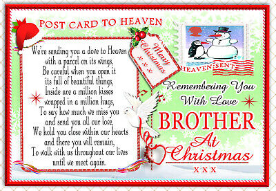 Christmas Brother Graveside Rememberance Memorial Bereavement Card & Holder