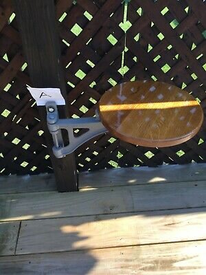 Antique Cast Iron Swing Out Stool Seat Drafting Steampunk Chair Deck 1920s