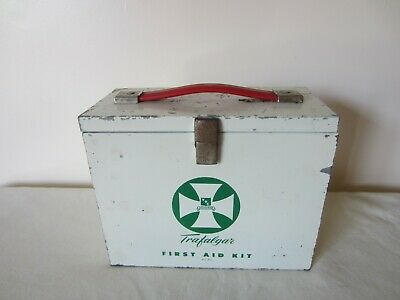 Vintage Trafalgar First Aid Kit Medical Metal Box With Expanding Draws &Stickers
