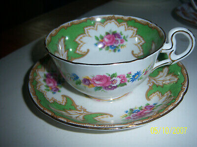 ROYAL GRAFTON tea cup and saucer green & Gold Flower  pattern & signed